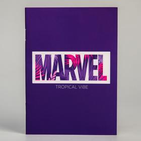 Блокнот А6 на скрепке, 32 листа в обложке софт-тач, Marvel тропики, Мстители