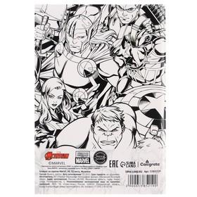 Блокнот А6 на скрепке, 32 листа в обложке софт-тач, Marvel, Мстители