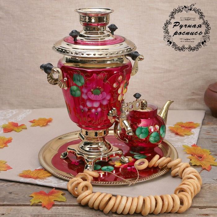 Набор «Жостово на красном», рюмка, 3 предмета, самовар 3 л, заварочный чайник 0,7 л, поднос