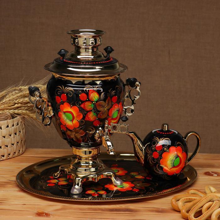Набор «Маки», жёлудь, 3 предмета, самовар 3 л, заварочный чайник 0,7 л, поднос