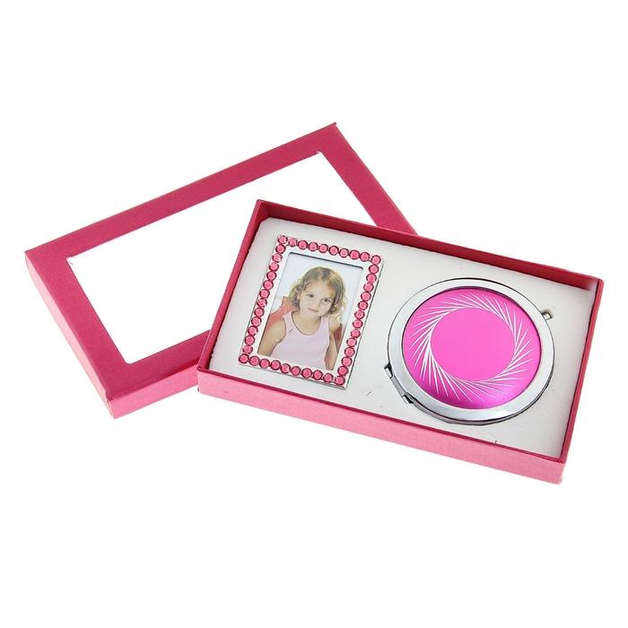 Набор подарочный 2в1 (зеркало + фоторамка), розовый