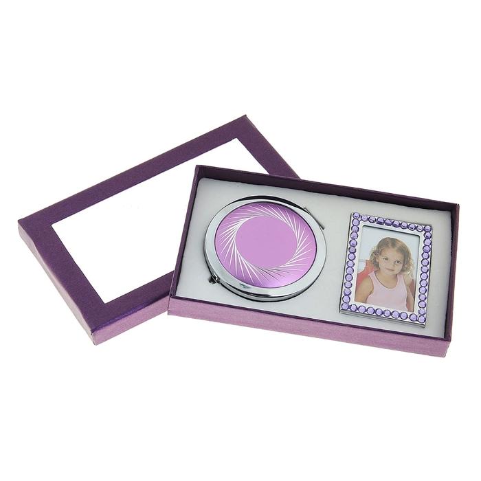 Набор подарочный 2в1 (зеркало+фоторамка), сиреневый
