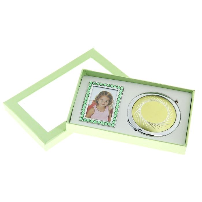 Набор подарочный 2в1 (зеркало+фоторамка), зеленый