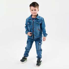 Denim jacket for a boy, blue, height 134 cm