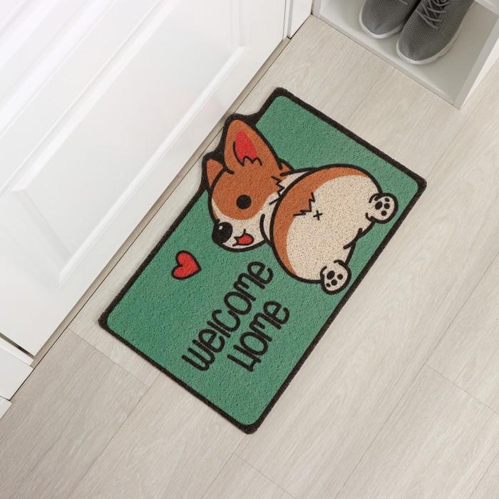 Коврик придверный Доляна «Корги», 40×60 см, цвет зелёный