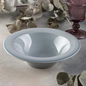 Тарелка глубокая «Акварель», d=22 см, цвет светло-серый