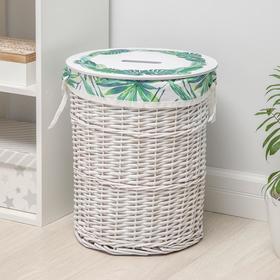 Корзина для хранения плетёная с крышкой Доляна «Тропики», 37×37×44 см