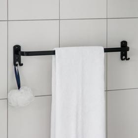 Держатель для полотенец, 4 крючка, 58×10×7,5 см, цвет чёрный