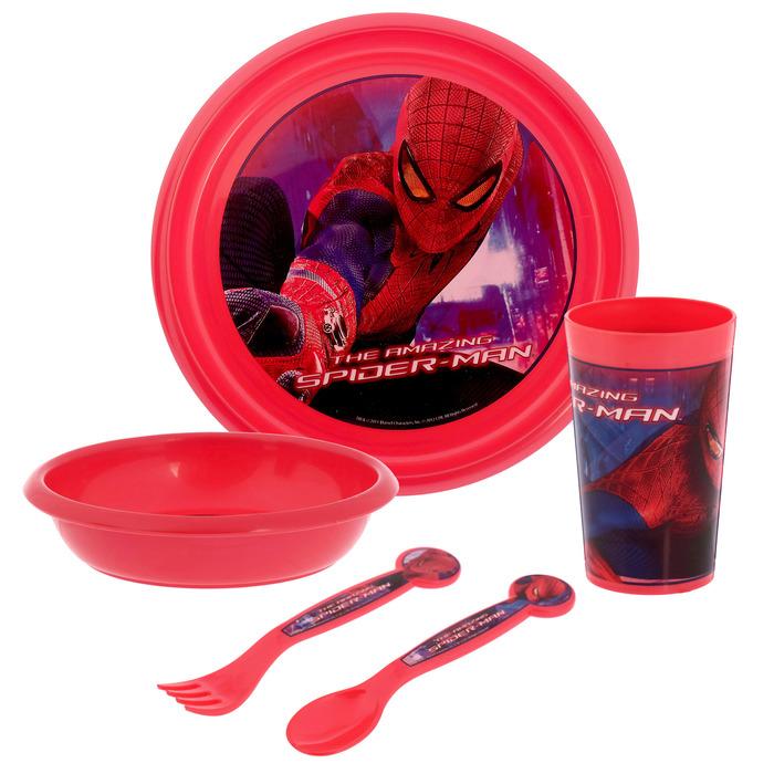 """Набор пластиковой посуды """"Человек-Паук"""", 5 предметов: стакан 270 мл, миска 320 мл, тарелка, вилка, ложка"""