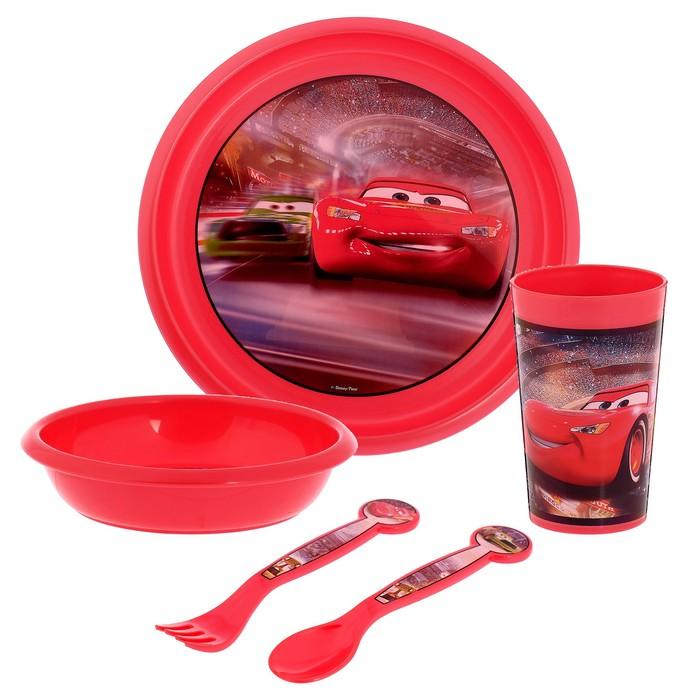 """Набор детской пластиковой посуды """"Тачки"""", 5 предметов: стакан, миска, тарелка, вилка, ложка"""