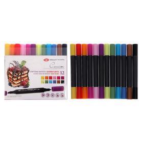 Набор художественных маркеров «Сонет», 12 цветов, спиртовая основа, двусторонний: пулевидная/скошенная, «Базовые цвета»