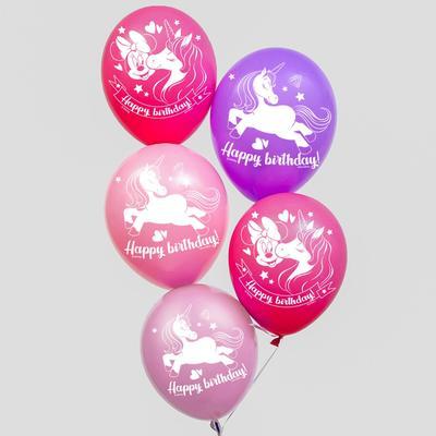 """Воздушные шары, набор """"Минни и единорог Happy Birthday"""", Disney (набор 5 шт)"""