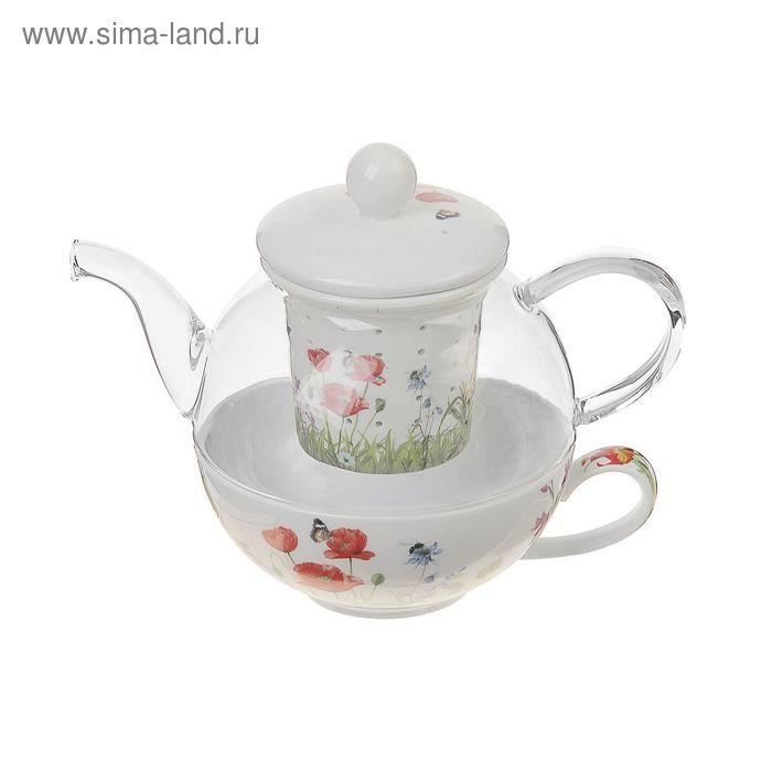"""Набор чайный """"Маки"""", 2 предмета: чайник 600 мл с керамическим ситом, чашка 250 мл"""