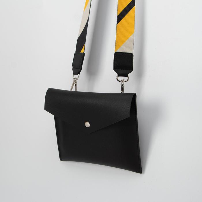 Сумка женская, отдел на клапане, длинный ремень, цвет чёрный - фото 1233135