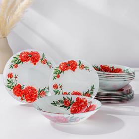 Набор тарелок Доляна «Пионы», 19 предметов: салатник, 6 десертных тарелок, 6 обеденных тарелок, 6 мисок