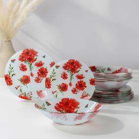 Набор тарелок Доляна «Красные маки», 19 предметов: салатник, 6 десертных тарелок, 6 обеденных тарелок, 6 мисок