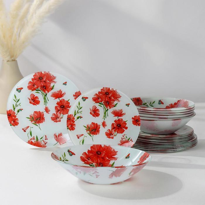 Набор тарелок Доляна «Красные маки», 19 предметов: салатник, 6 десертных тарелок, 6 обеденных тарелок, 6 мисок - фото 643198