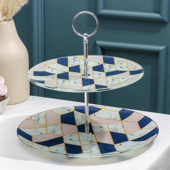 Блюдо 2-х ярусное круглое Доляна «Розовый мрамор», 25/20×24 см - фото 970245