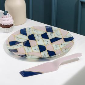 Тортовница с лопаткой Доляна «Розовый мрамор», d=30 см, лопатка 26,5×7×2 см