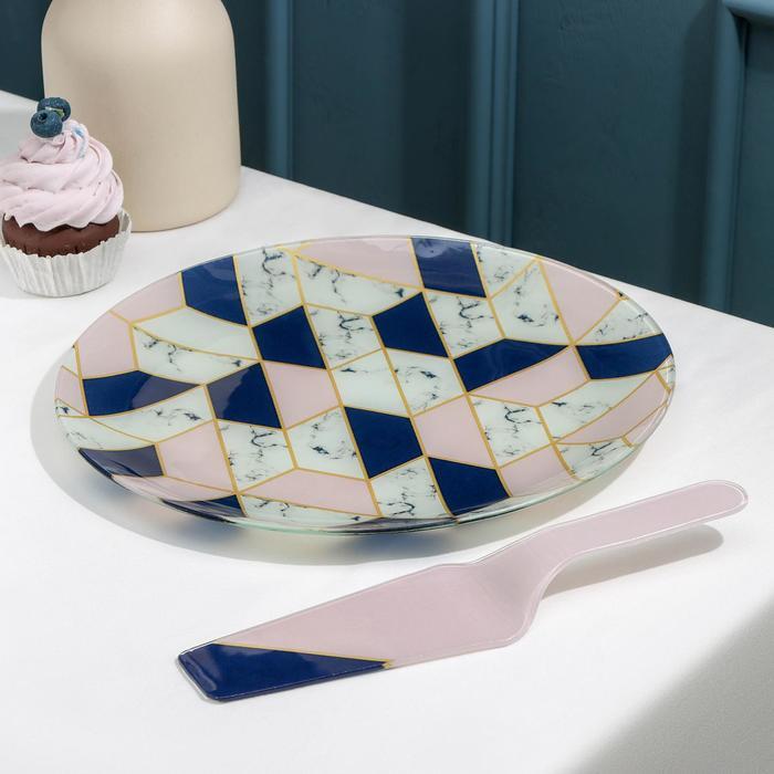 Тортовница с лопаткой Доляна «Розовый мрамор», d=30 см, лопатка 26,5×7×2 см - фото 970272