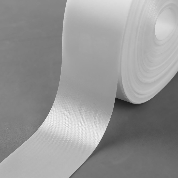 Лента атласная, 50 мм ? 100 ± 5 м, цвет тёплый белый