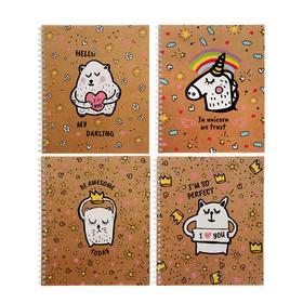 Тетрадь 96 листов в клетку, на гребне Funny doodles, обложка мелованный картон, выборочный лак, блок офсет, МИКС