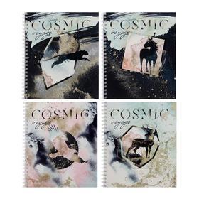 Тетрадь 48 листов в клетку, на гребне Cosmic voyage, обложка мелованный картон, выборочный УФ-лак, блок офсет, МИКС