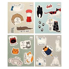 """Тетрадь 48 листов в клетку """"Кото-стикеры"""", обложка мелованный картон, выборочный УФ-лак, блок офсет, МИКС"""