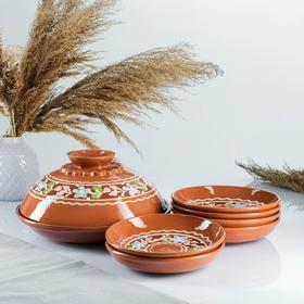 7-piece pancake set: 1 pc. crepe maker, 6 pcs. plates, painted, wreath