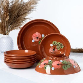 7-piece pancake set: 1 pc. crepe maker, 6 pcs. plates, painted, may
