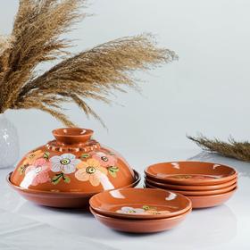7-piece pancake set: 1 pc. crepe maker, 6 pcs. plates, painted, multicolor