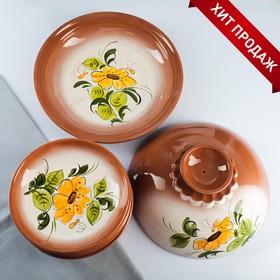 7-piece pancake set: 1 pc. crepe maker, 6 pcs. plates, painted, nectar