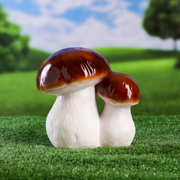 """Садовая фигура """"Пара белых грибов"""" малая, бело-коричневая ножка"""