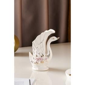 """Ваза настольная """"Лебедь"""" золотой декор, лепка, белая, 19 см - фото 1702618"""