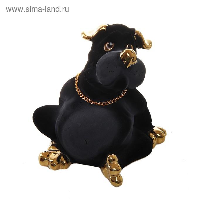 "Копилка ""Пёс Толстопуз"" флок, булат, чёрная"