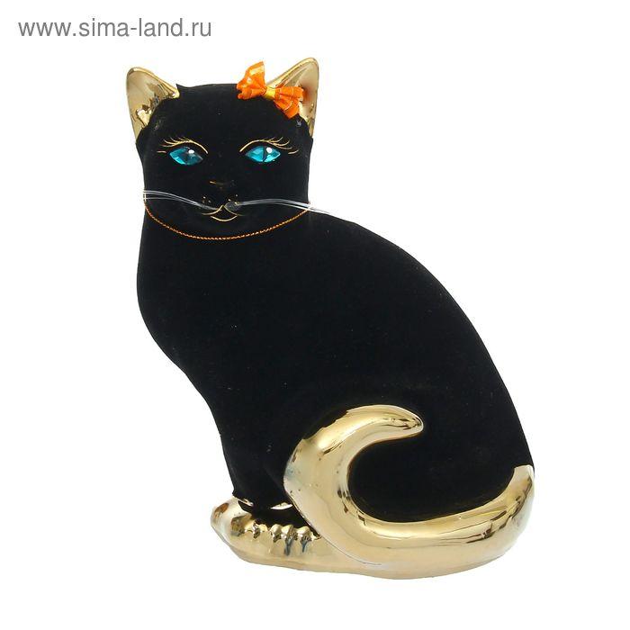 """Копилка """"Кошка Мурка"""" флок, булат, чёрная, оранжевый бантик"""
