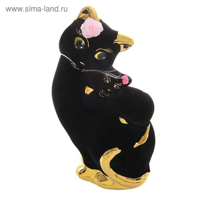 """Копилка """"Кошка с котёнком"""" бант, флок, булат, чёрная"""