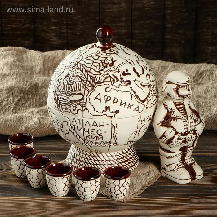 """Штоф с рюмками в декоративной подставке """"Глобус-бар"""" 8 предметов, 0,5 л/ 0,05 л"""