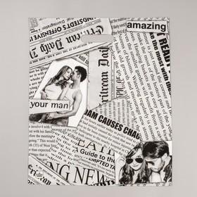 """Пакет """"Газетный микс"""" полиэтиленовый, с вырубной ручкой, 38 х 45 см, 60 мкм"""