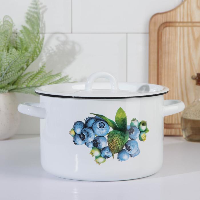 Кастрюля эмалированная «Овощи» 3 л, цвет МИКС