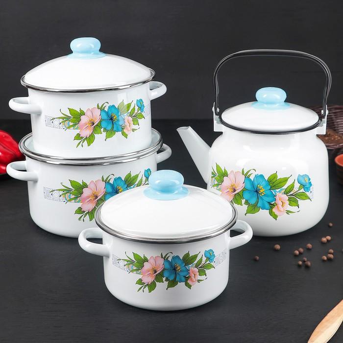 """Набор посуды """"Виола"""", 4 предмета: 3 кастрюли 2 л, 3 л, 4 л с крышками, чайник 3,5 л"""