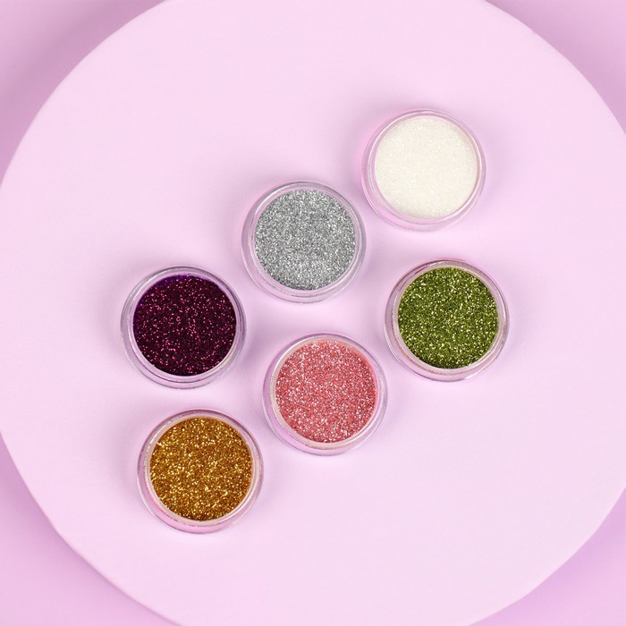Glitter decor for nail art small, 6 bottles, MIX color