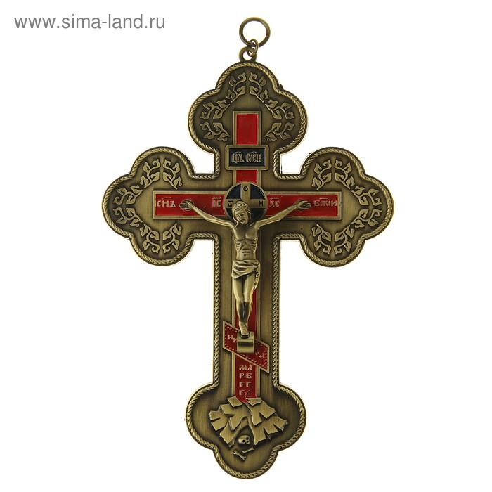 Крест с петлей для подвески с красной заливкой