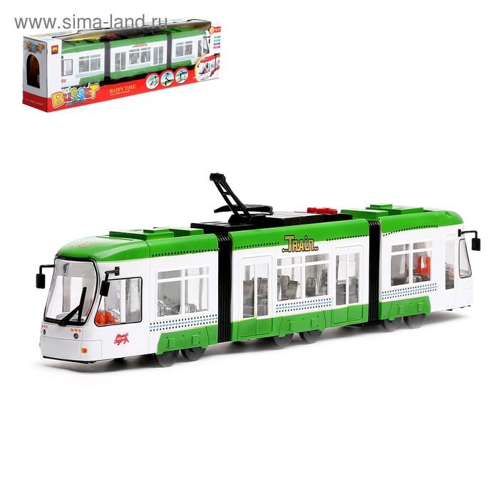 """Трамвай """"Городской"""", работает от батареек, световые эффекты, цвета МИКС"""