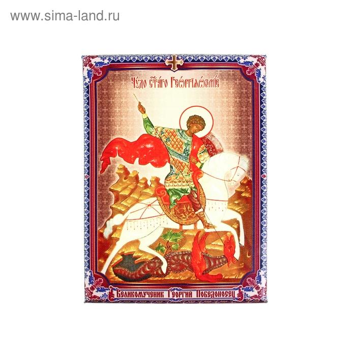 """Икона холст """"Великомученик Георгий Победоносец"""" на подвесе"""