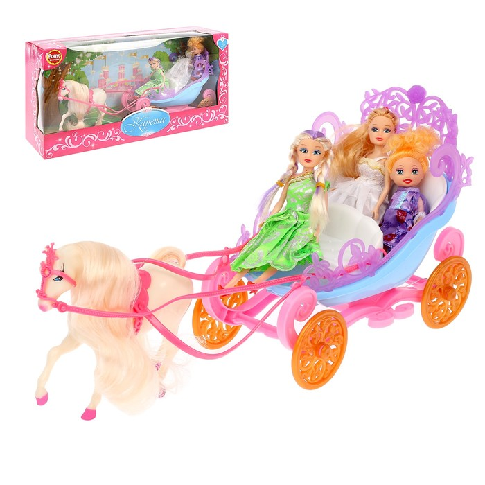 Карета с лошадкой, с куколкой, цвета МИКС