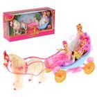 Карета с лошадкой, лошадь ходит, 3 куклы, звуковой эффект, МИКС