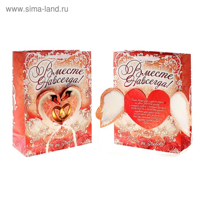 Пакет ламинат с открыткой и тиснением «Свадьба» 29 х 37 см