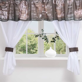 A set of curtains for the kitchen Naomi tulle (294x160cm), lambrequin (290x40 cm), tie-backs, pe 100%
