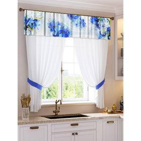 A set of curtains for the kitchen Lucille tulle (294x160cm), lambrequin (290x40 cm), tie-backs, pe 100%